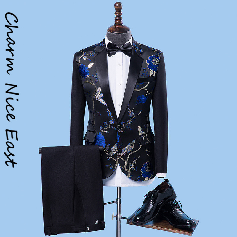 Men's Party dress Chinese suit Men wedding suits Singer Host Costume homme clothing Stage Performance Slim royal blue tuxedo