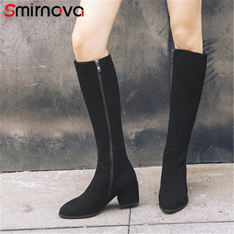 Smirnova HOT sale 2018 fashion winter cow suede leather boots ladies classic black knee high boots long woman boots med heelSmirnova HOT sale 2018 fashion winter cow suede leather boots ladies classic black knee high boots long woman boots med heel