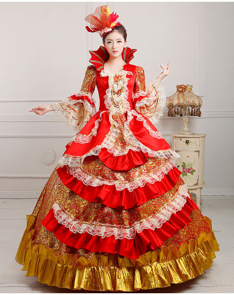 luxury red&golden flowers ruffled flare sleeve medieval dress renaissance Gown princess cosplay Victorian/belle ball gown