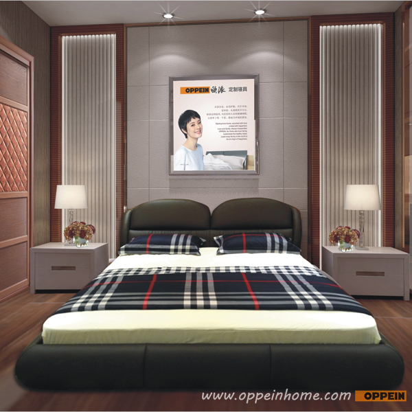 OPPEIN Hot Sell Cherry Wood Bed / soft bed/double bed king/queen ...