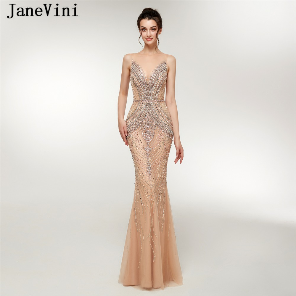 JaneVini Luxury Beading Tulle Long Bridesmaid Dresses 2018 Sexy Mermaid Illusion Back Floor Length Pageant Prom Gowns Damigelle