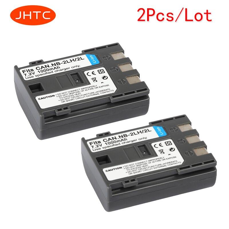 JHTC 2 unids/lote 1000 mAh NB-2L NB2L NB-2LH NB 2LH NB2LH de batería de la cámara Digital Canon Rebel XT XTi 350D 400D G9 G7 S80 S70S30