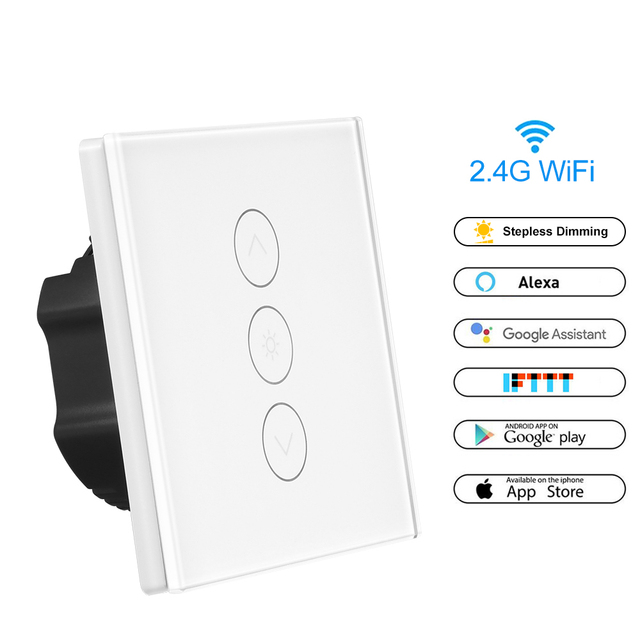 Smart Light Switch >> Wireless Smart Light Dimmer In Wall Power Switch Touch Control Wifi