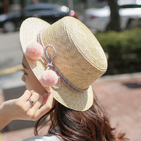 1 Pcs 2016 New South Korea Color Of Rope Lovely Ball Fedoras Hats Summer Women Straw
