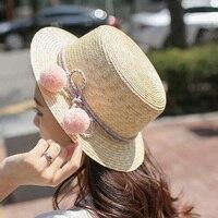 1 قطع 2016 جديد كوريا الجنوبية لون حبل جميل الكرة فيدورا قبعات الصيف سترو قبعة حجم 54-56 سنتيمتر 3 الألوان