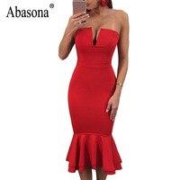 Abasona Summer Women Ruffles Dress Sexy Off Shoulder V Neck Bocycon Dresses Evening Party Black Red