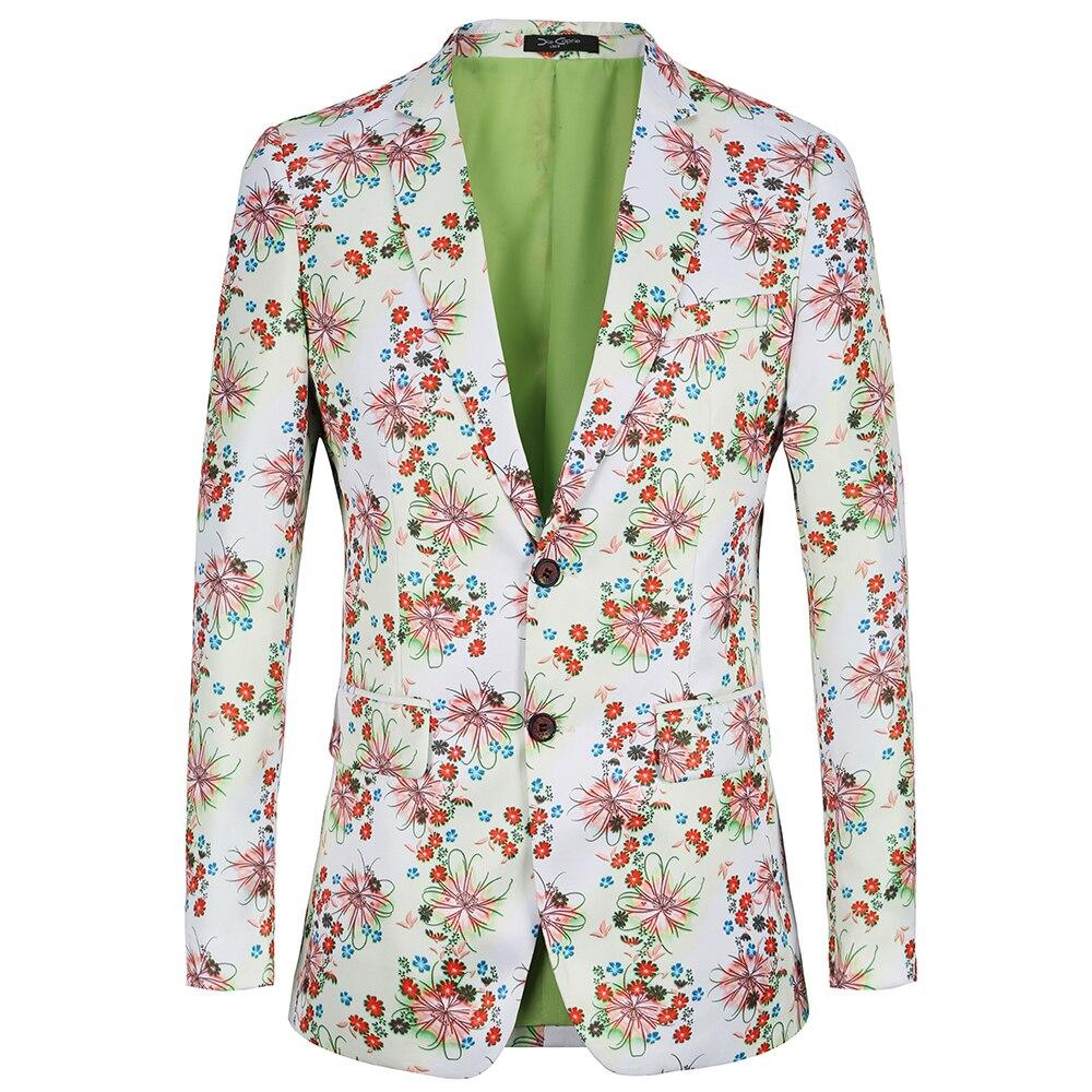 PAULKONTE fleur imprimer Slim Fit mâle Blazer Costumes manteau hommes vêtements formelle robe de mariée scène Costumes pour chanteurs robe veste
