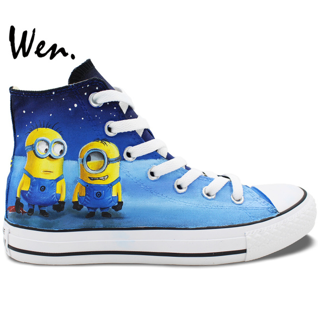 a742f78bee Wen Hand Painted Minions Shoes Design Custom Despicable Me Men Women s High  Top Canvas Sneakers for