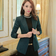 2017 Female Casual Suit ol Office Solid Slim Fit Blazer For Women Notched Formal Work Jacket Design Black  Green Blazer