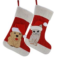 63441bdee9d Free Shipping Christmas Pack 2 Holiday Pet Dog or Cat Pattern Theme Embroidered  Stockings Socks Christmas Decoration