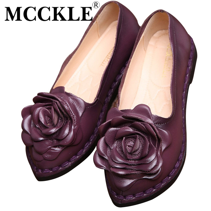 ФОТО MCCKLE 2017 New Vintage Women Flats Casual Shoes Handmade Genuine Leather Shallow Mother Shoes Fashion Soft Bottom Loafers Shoes