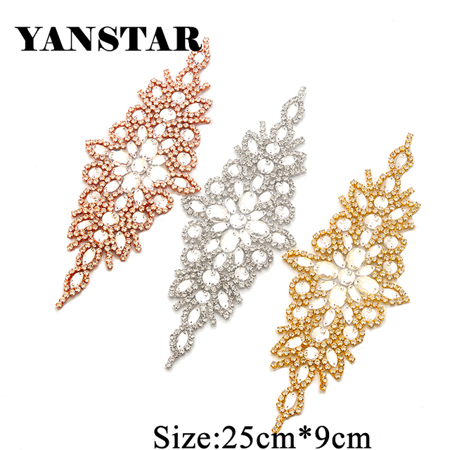 YANSTA 5PCS Wedding Dresses Belt Rhinestones Appliques Patch For Bridal Gown  Sashes Clear Rose Gold Crystal Accessroy YS855 bdd2efe2098f