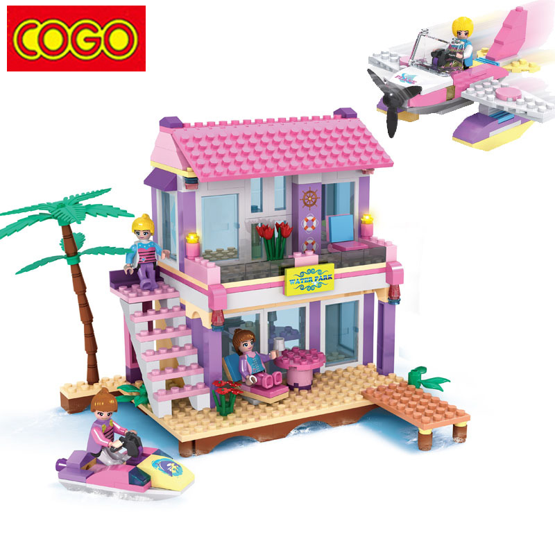 cogo blocks toys friends series beach villa model blocks. Black Bedroom Furniture Sets. Home Design Ideas