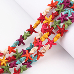 14mm Mix Color Starfish Howlite Beads Loose Stone Beads 160Pcs/Lot Charms Spacer Bead For Making Jewelry Diy Crafts