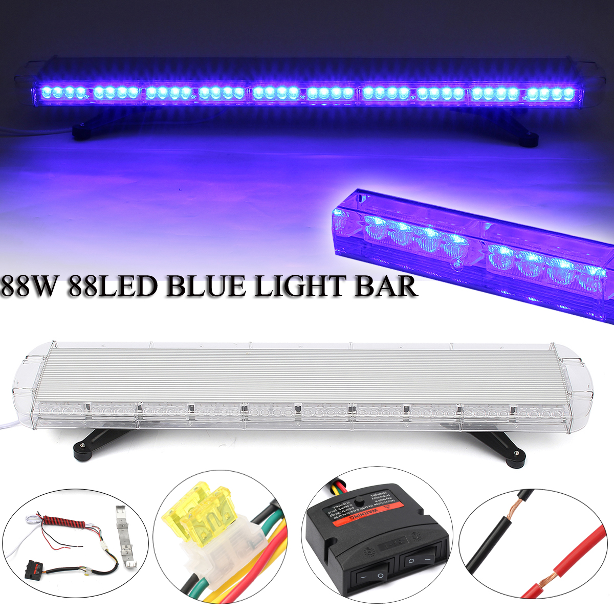 Smuxi 88W 88Led Special Blue Light Emergency Beacon Tow Truck Response Strobe Lamp 12/24V LED Work Light Bar Emergency Light ...