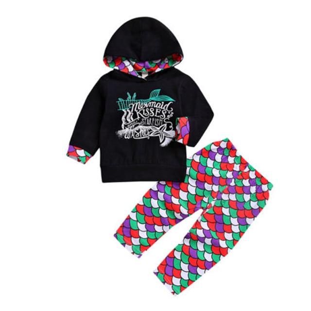 adb059a57 Baby Girls Boys Mermaid Hoodie Clothes Set Toddler Kids Long Sleeve Hooded  Blouse Tops Scale Pants