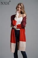 NXH 2018 Autumn winter New OL Plus size Vneck Cardigans Sweater women striped coat woman clothes winter tops for women