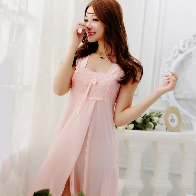9565bfcec1 Summer Sexy Spaghetti Strap Nightgown Temptation Sweet Lace Bow Long Design  Women Royal Sleepwear