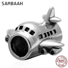 Sambaah Passenger Flights Charm 925 Antique Sterling Silver Airplane Beads fit Pandora Travel Bracelet SS3211