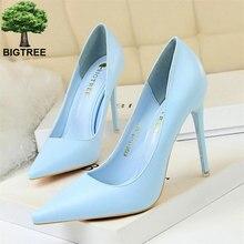 Zapatos de tacón alto BIGTREE de piel suave de moda poco profundos para mujer, zapatos de punta estrecha en colores caramelo para mujer, zapatos de oficina finos para mujer