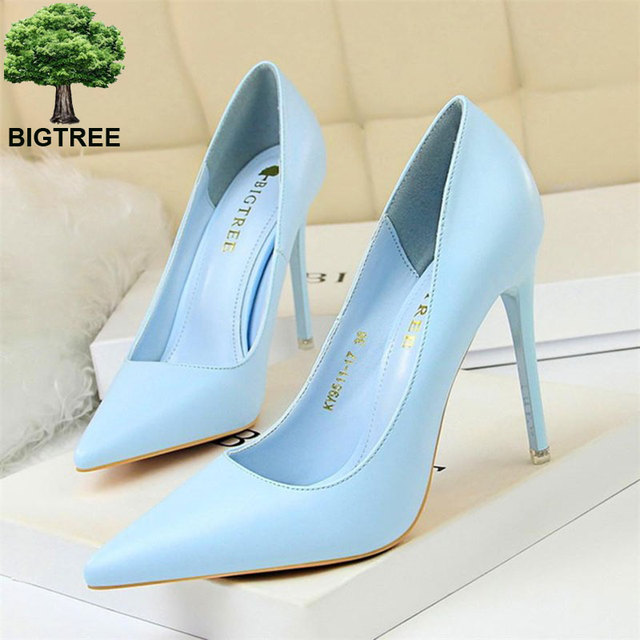 BIGTREE Soft Leather Shallow Fashion Women's High Heels Shoes Candy Colors Pointed Toe Women Pumps Show Thin Female Office Shoe