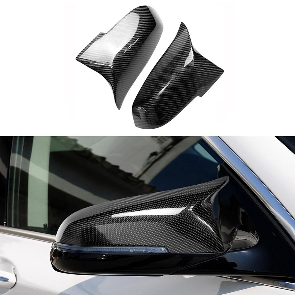 2 pcs/ensemble Carbone fibre Voiture rétroviseur Shell Corne Couverture Autocollants Pour BMW F20 F30 F34 F35 E84 X1 1 3 4 série accessoires de voiture