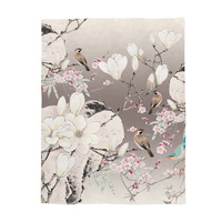 Japanese Printed Blanket Chinese Painting Style Magpies on The Branches of Cherry Blossoms and Jasmine Blossoms Call