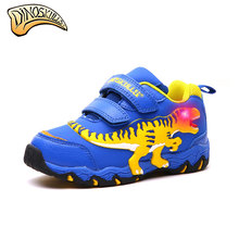 Dinoskulls Children's Led Light Up Shoes Baby Boys Spring Autumn T-REX Sneakers Tyrannosaurus Sport Shoes Kids Glowing Sneakers