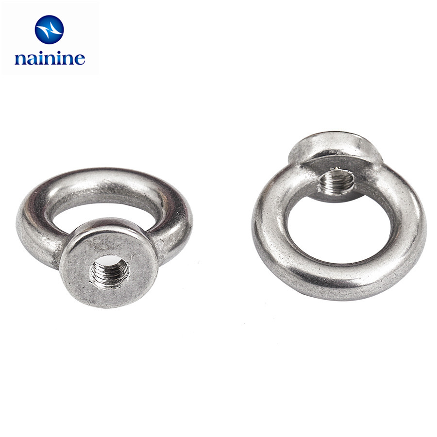 2Pcs DIN582 M3 M4 M5 M6 M8 304 Stainless Steel Marine Lifting Eye Nut Ring Nut Thread HW108 10pcs din582 m3 m4 m5 m6 m8 m10 m24 304 stainless steel marine lifting eye nut ring nut thread hw108