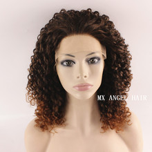 Fashion Ombre Kinky Curly Dark Root Brown Synthetic Lace Front Wig Heat Resistant Hair Kanekalon Women Wigs