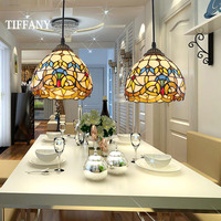 European Tiffany Retro Mediterranean LED Pastoral Stained Glass Pendant Lights Luminaria Teto Hanging Lamps For Home Decoration