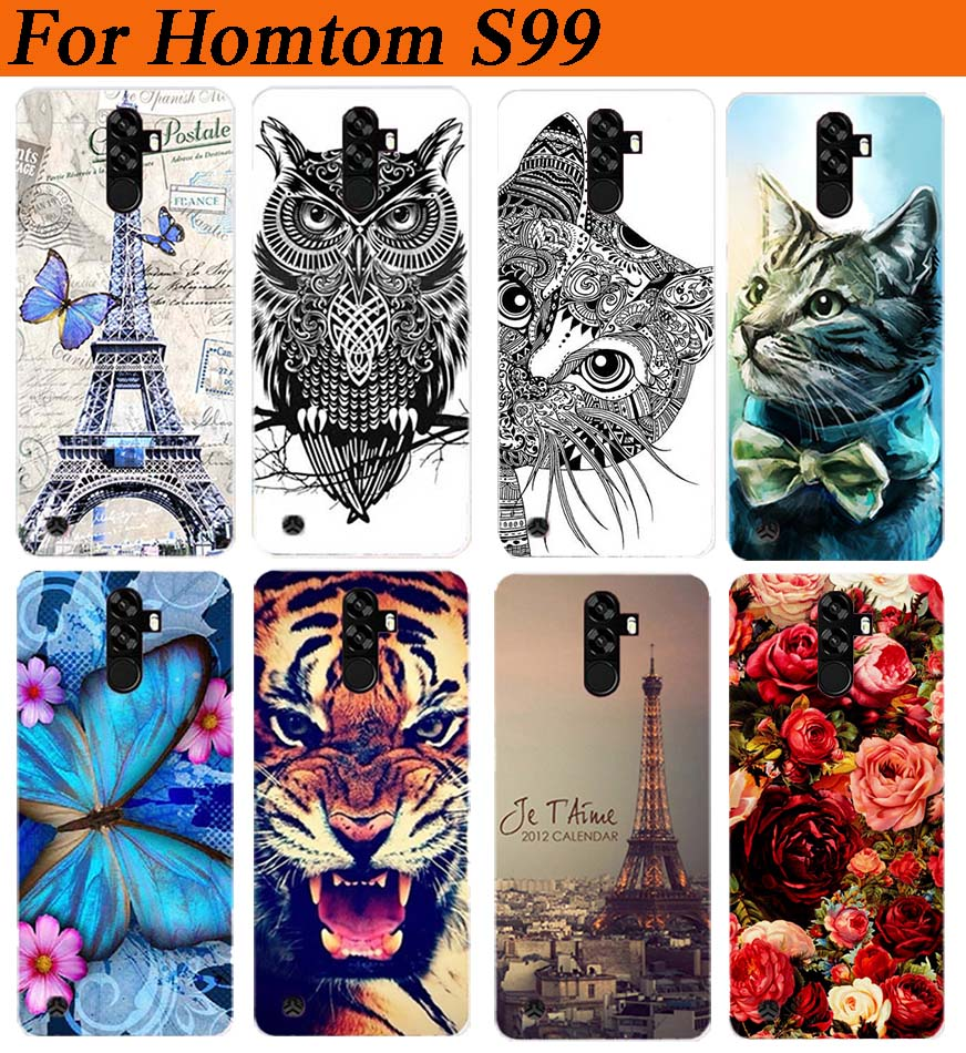 For Homtom S99 Case Cover Pattern Painted Colored Tiger Owl Rose Soft Tpu Case For Homtom S99 Fundas Capa Phone Sheer(China)