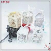 50 قطع الزفاف كاندي صندوق الزفاف متعددة الأنماط حلويات هدية مربع مع الشريط استحمام الطفل الهدايا حفل زفاف 7ZT84