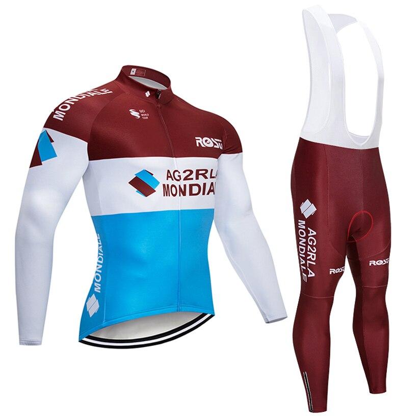 2018 команда ag2r Vélo гель площадку велосипед Шорты ropa ciclismo мужчины длинные рукава Термальность велосипед Майо Culotte комплект одежды