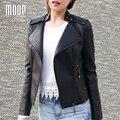 3 Цвета твердых PU кожаные куртки и пальто женщины мотоциклетная куртка off-center zip карман в юбке пальто весте ан cuir femme LT712