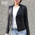 3 Cores sólidas PU jaquetas de couro e casacos jaqueta mulheres motocicleta off-centro placket zip casacos veste en cuir femme LT712