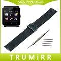 24mm correa para sony smartwatch 2 sw2 milanesa de malla venda de reloj de pulsera de acero inoxidable enlace correa negro de oro rosa de plata