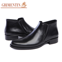 GRIMENTIN Brand classic vintage ankle boots mens shoes casual genuine leather elegant wedding male shoes men for business office