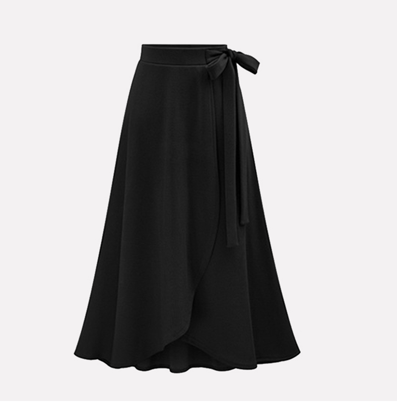 Plus Size Stylish Designed Women's Autumn Asymmetric Slit Solid-color Wrap Long Skirt Lady Daily Casual Bandage Midi Skirt M-6XL 10
