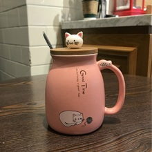 Cute Cat Mug Creative Ceramic With lid Spoon Cup Breakfast Coffee