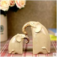 2pcs yellow ceramic elephant home decor crafts room decoration handicraft ornament porcelain animal figurines