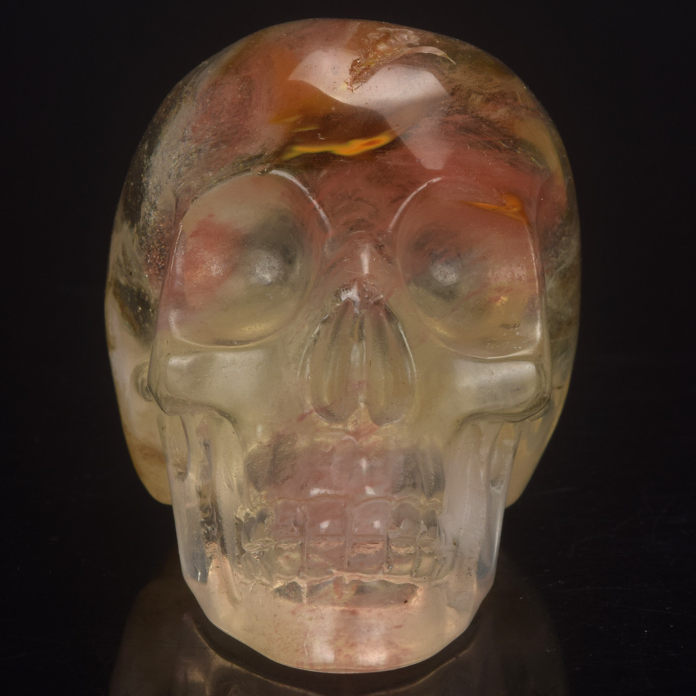 2 Inch Watermelon Tourmaline Manmade Stone Skull Statue Mineral Crystal Skull Figurine Hand Carved Feng Shui Healing Collection