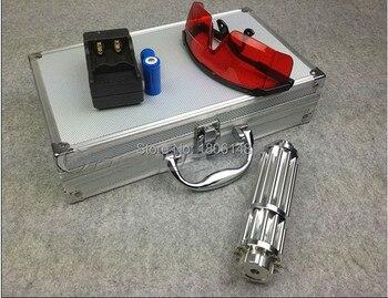 Professionelle Leistungsstarke Military Blau laser pointer 500000 m 500 w 450nm Taschenlampe Brennen spiel zigarre schneiden von papier kunststoff + Gläser