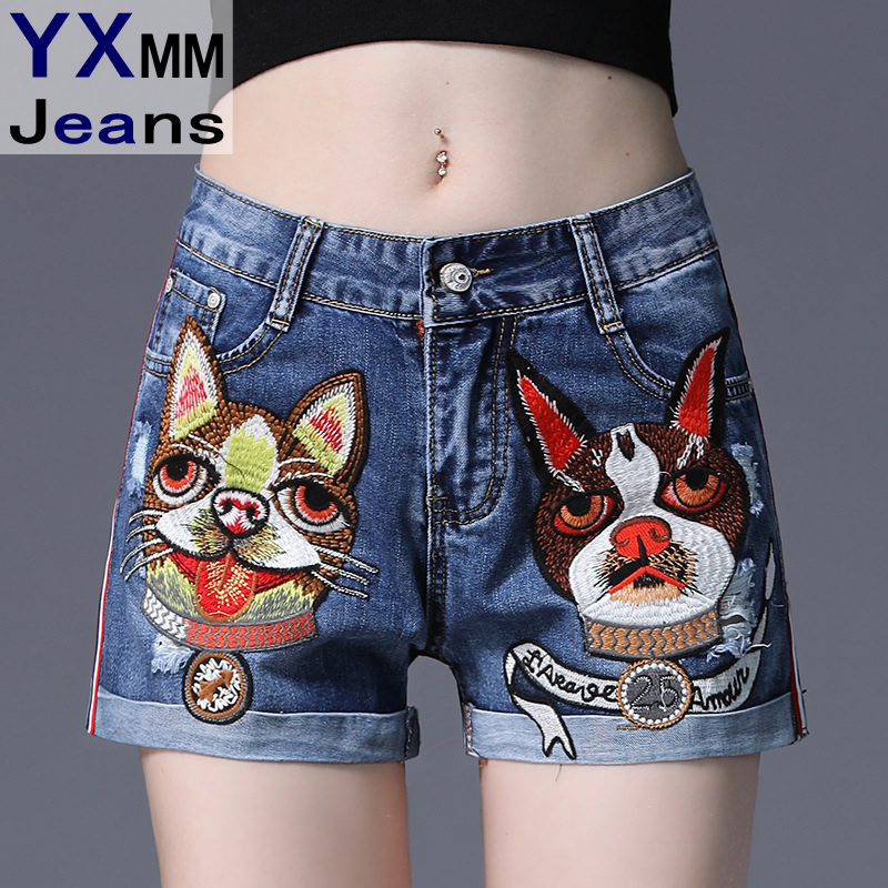 4ac8710715 US $33.98 |YXMM 2018 New Summer Embroidered Lady Puppy Cuffs Mid Waist  Vintage Denim Shorts Jeans Boby Feminino Holiday Beach Jeans Shorts-in  Jeans ...