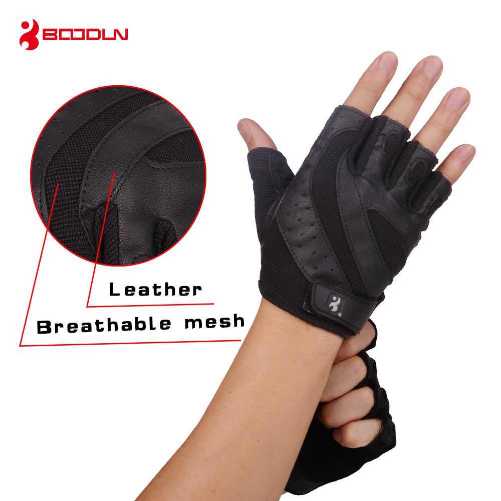 Weight Lifting Gym Exercise Fitness Real Leather Gloves Body Building Cycling
