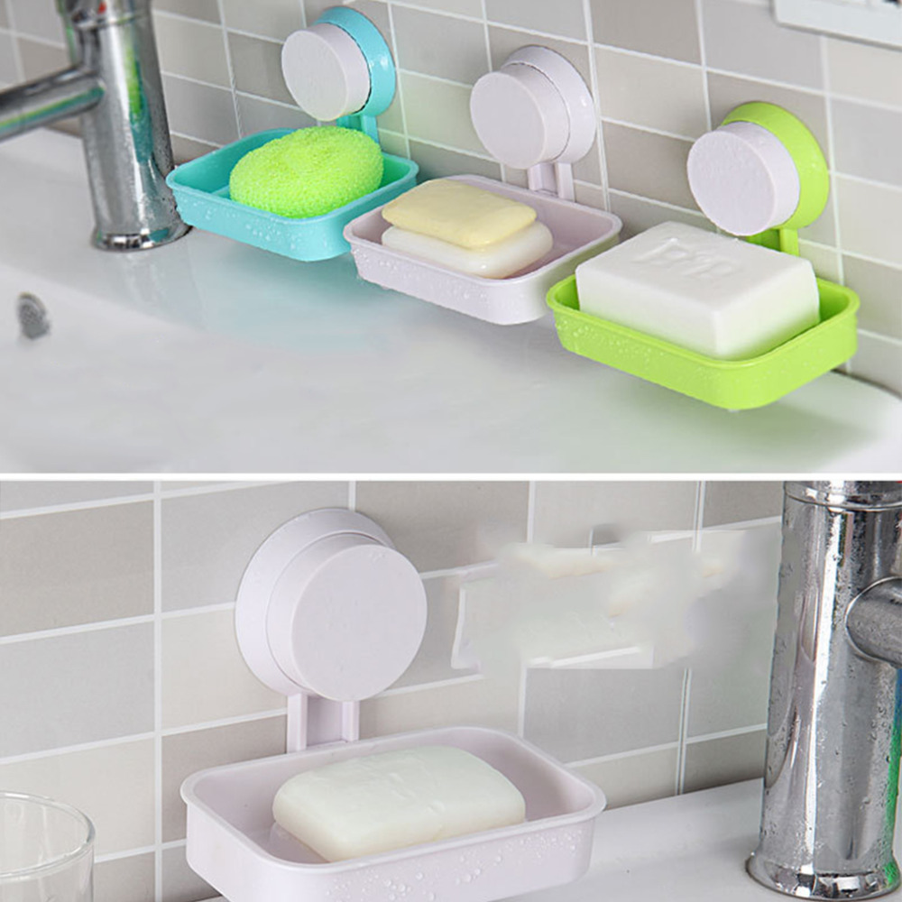 Candy Color Toilet Suction Cup Holder Bathroom Shower Soap Dish Home ...