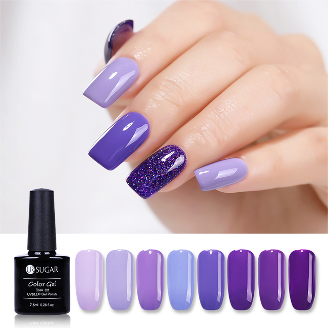 Ur Sugar 7 5ml Purple Color Series Glitter Gel Nail Polish Holographic Manicure Varnishes Soak