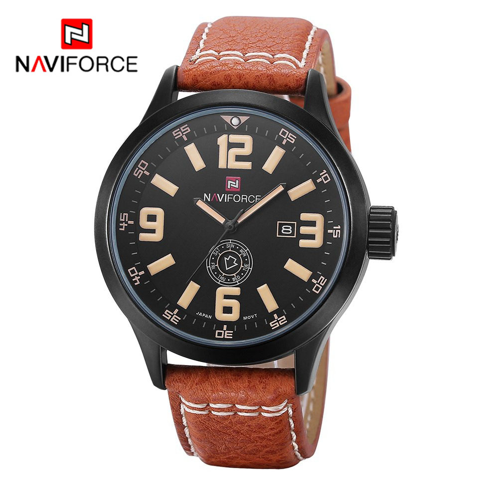 Luxury Brand NAVIFORCE Men Sport Watch Casual Watches Quartz Watch Wrist Leather Strap Military Watch Relogio Free for Regulator