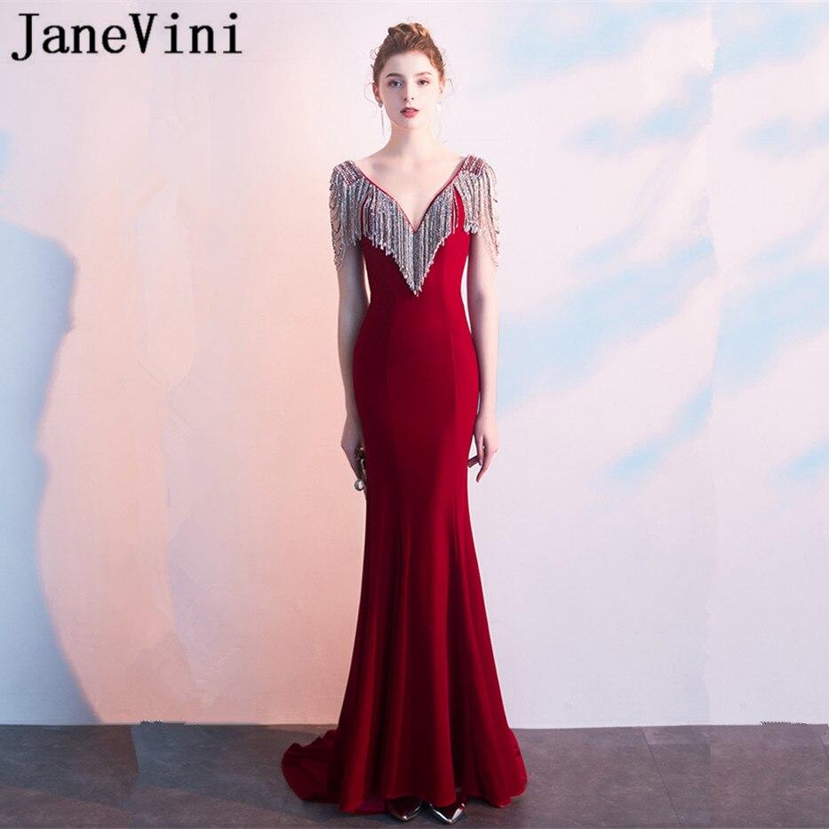 JaneVini Luxury Burgundy Mermaid   Prom     Dresses   2019 Deep V Neck Shining Beading Tassel Velvet Sexy Evening Party Gowns Abendkleid