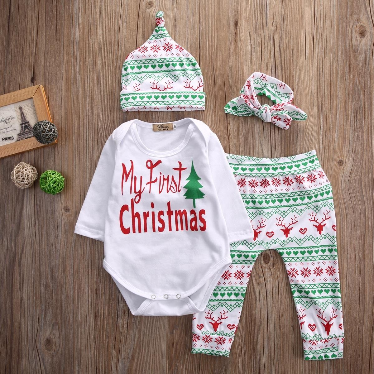 My First Christmas Infant Baby Boy Girl Outfits Clothes ...